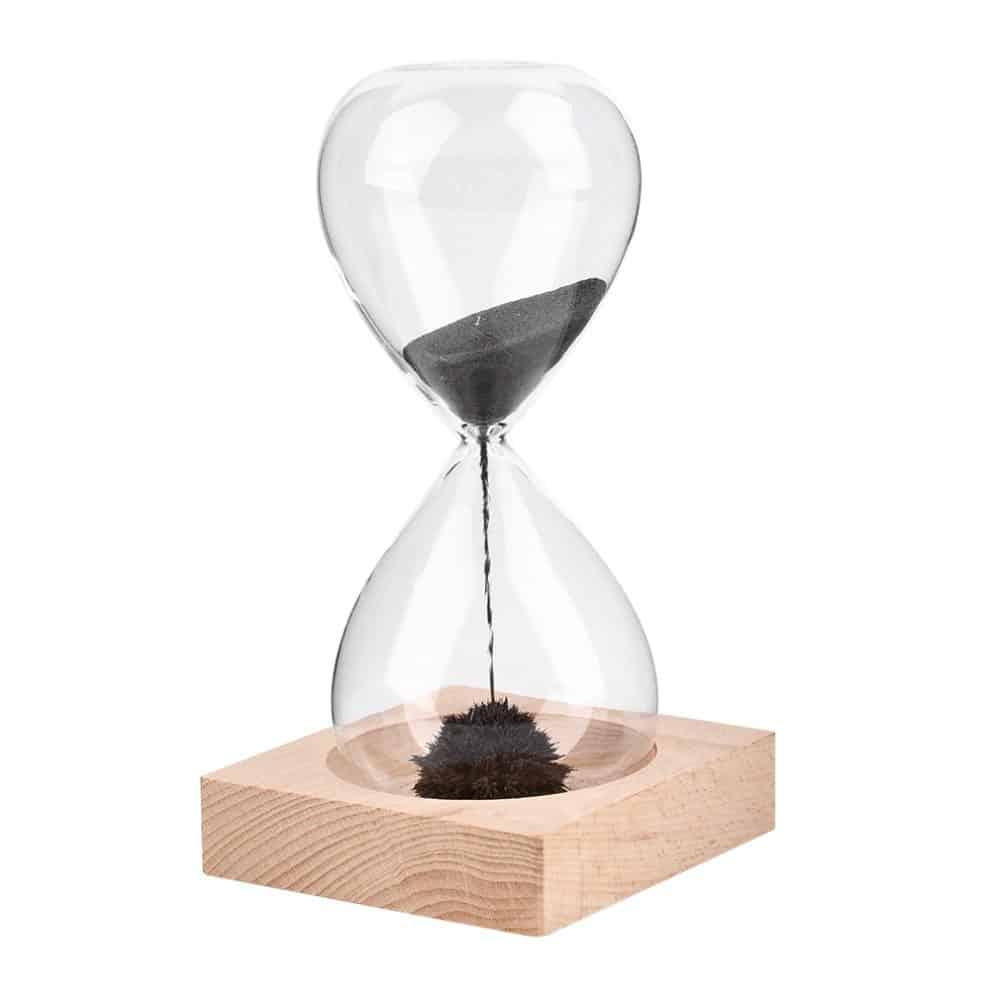 Magnetoide Reloj De Arena Magnético Con Base De Madera Woodenson