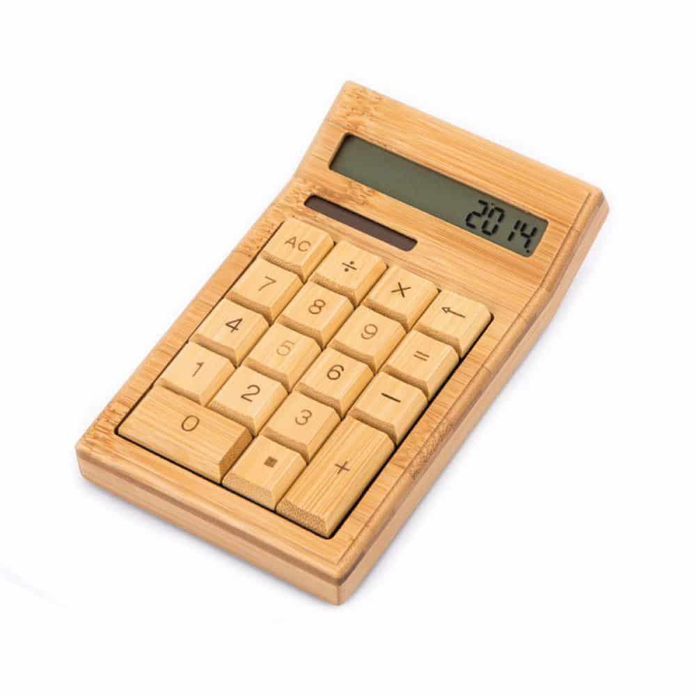 Calculadora solar de madera de bambú