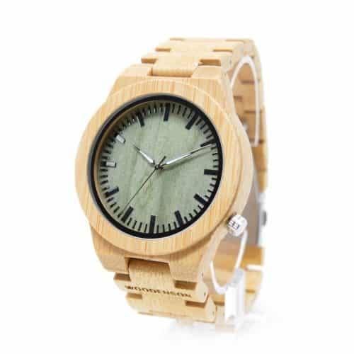 Reloj De Bambú Sin Agujas Modelo Wormhole Woodenson