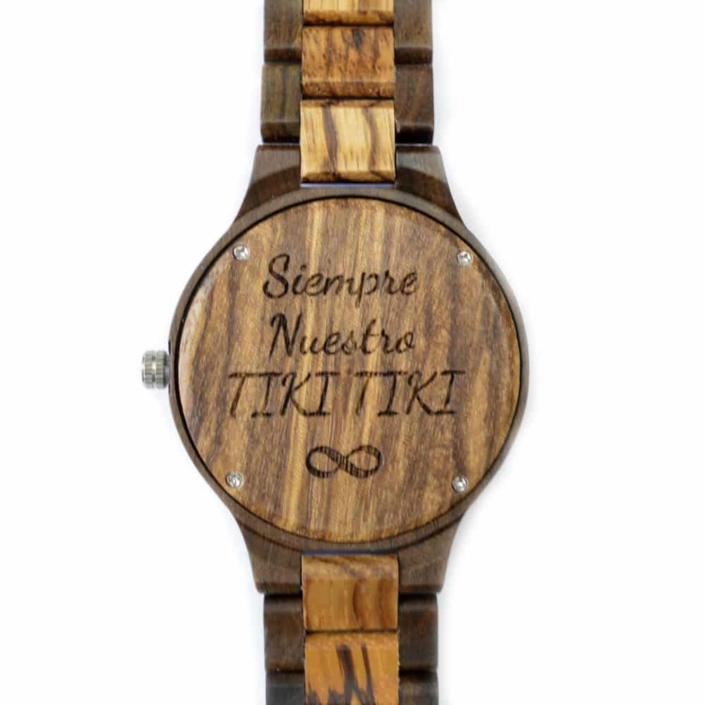 Reloj articulado de madera en dos colores modelo Kumasi