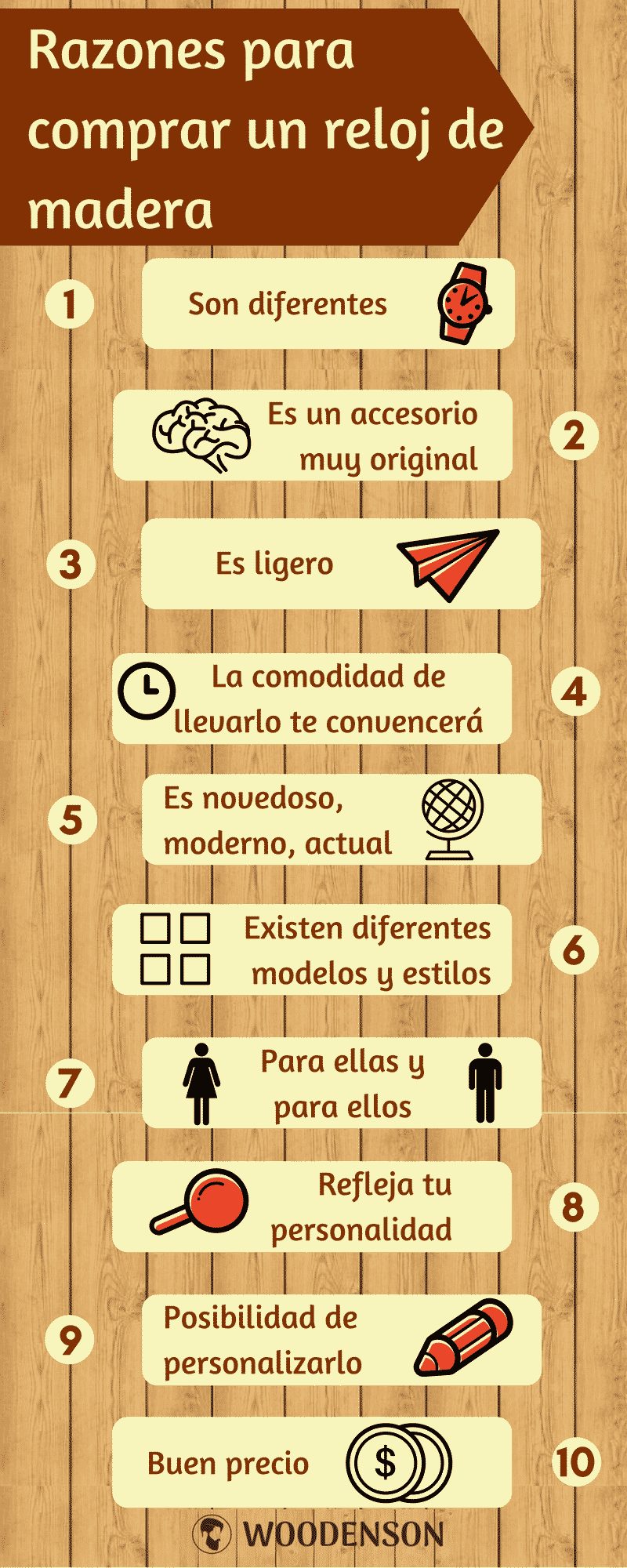 Infografía reloj de madera