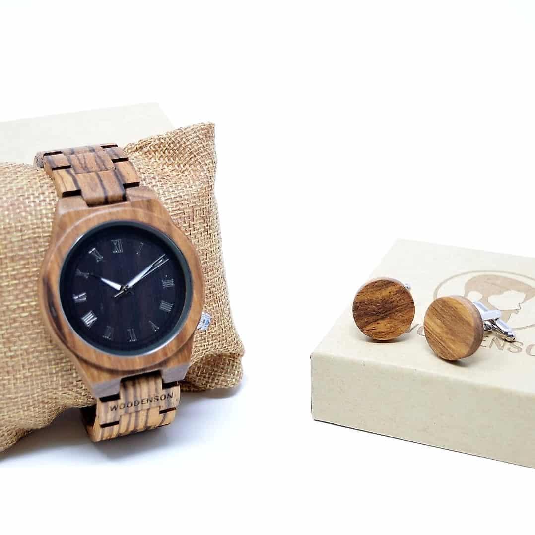 4d5bfe397994 Regalo aniversario para chico  pack de reloj de madera Gaman + gemelos de  madera Hydros