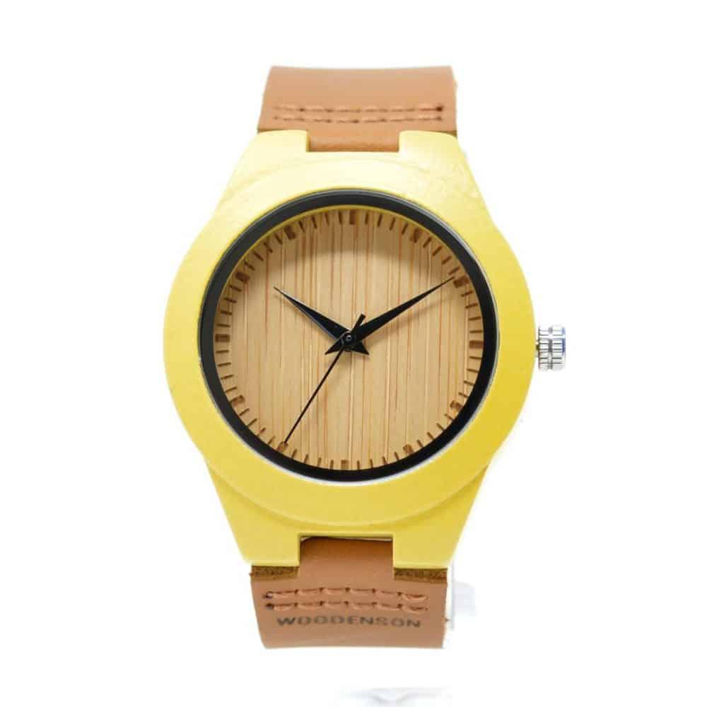 Reloj de madera de bambú de colores modelo Yuki