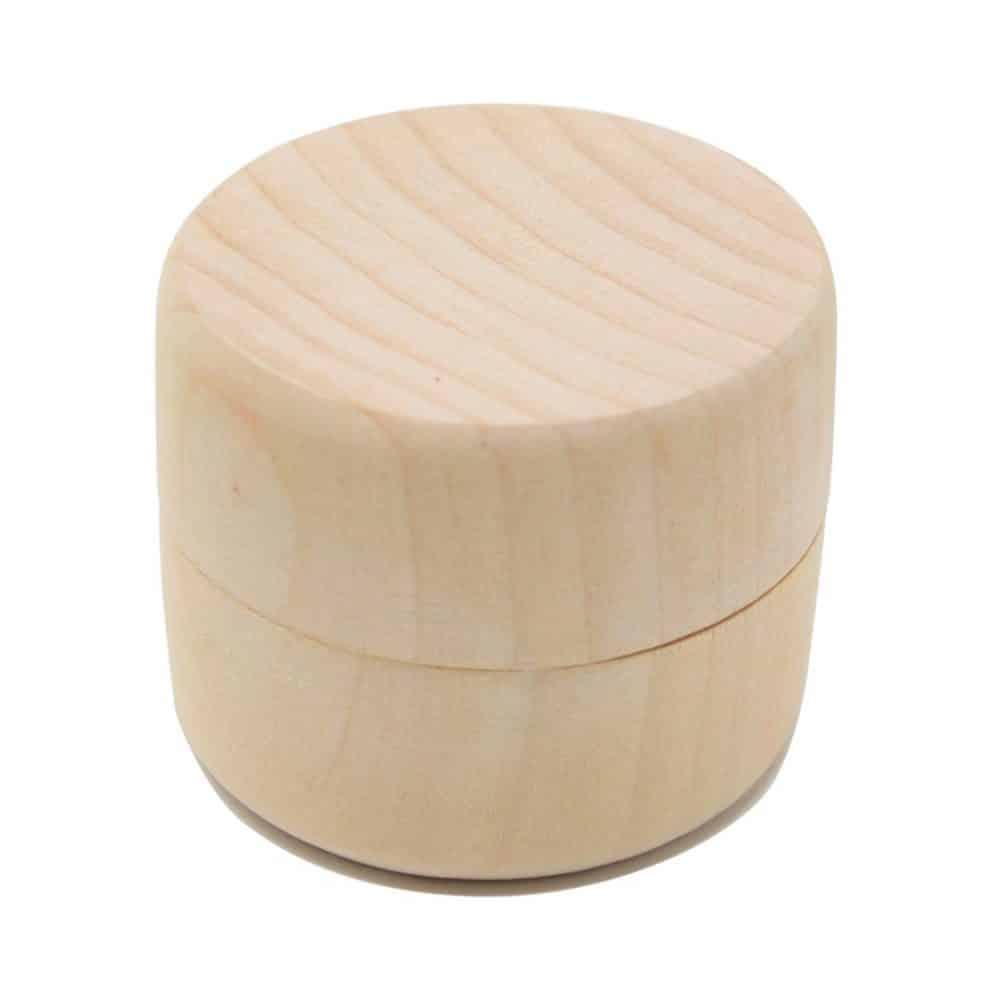 Caja de madera redonda para anillos de boda