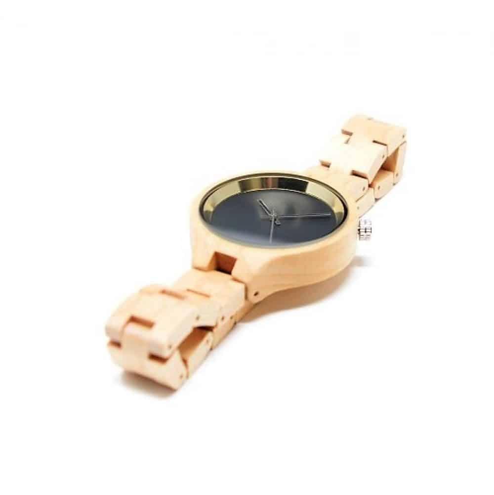 Reloj de madera de bambú claro modelo Burakku