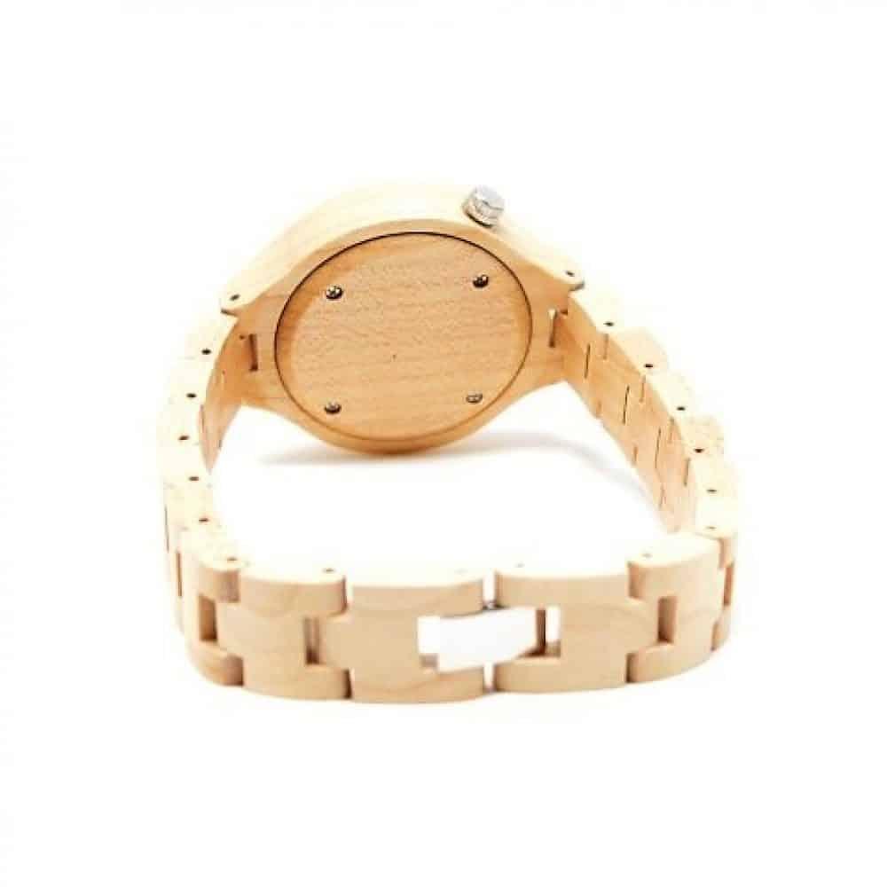 Reloj de madera de bambú clarmodelo Burakku