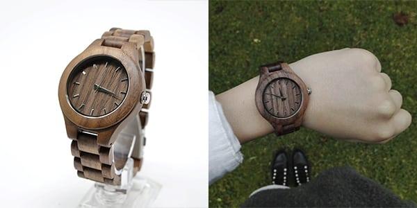 reloj de madera para mujer