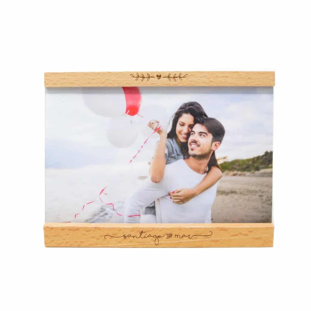 Marco de fotos con foto impresa y grabado personalizado - Woodenson