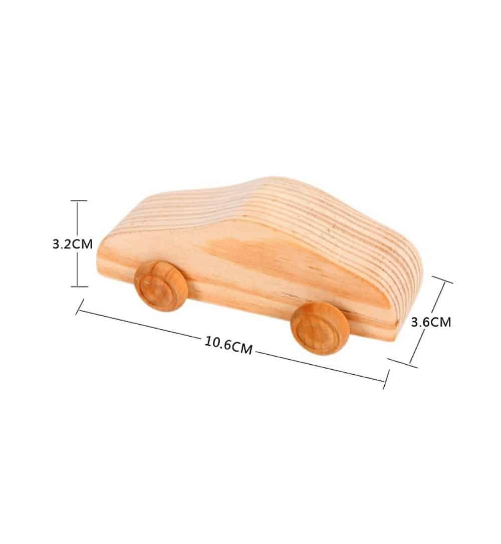 Coche de juguete de madera maciza artesanal para colorear - Woodenson