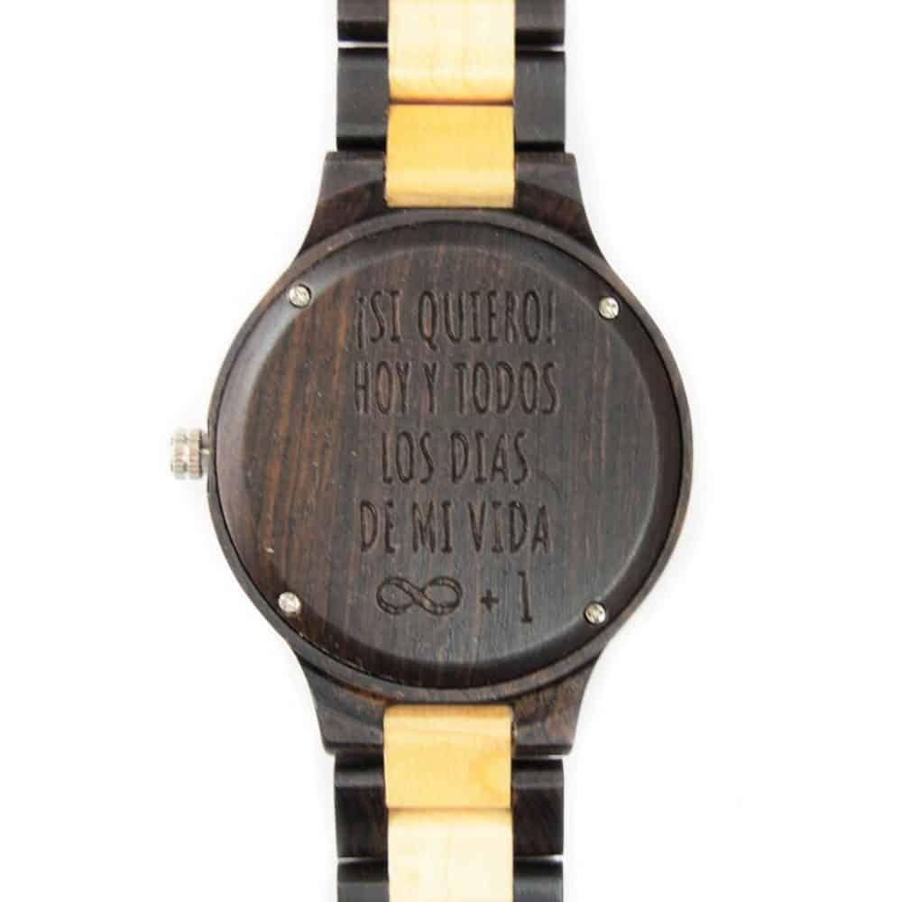 Reloj articulado de madera en dos colores Senkei