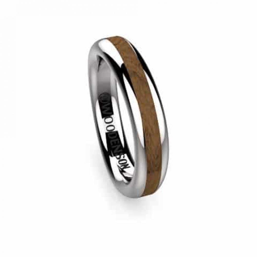 f5a13676e85a Anillo de compromiso de oro o plata con madera modelo Domei - Woodenson