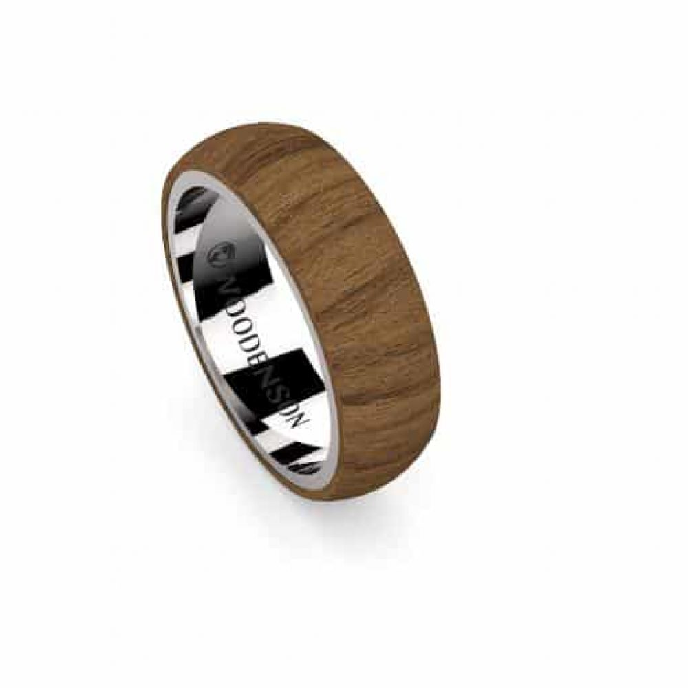 0f0356104890 Anillo de plata y madera con acabado redondeado modelo Kruh - Woodenson