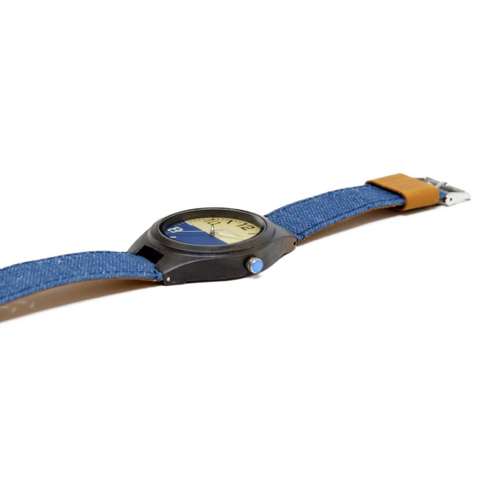 Reloj de madera con correa vaquera modelo Fune